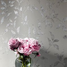 Muriva Cara Trail Silver Foil Metallic Wallpaper - A great way to add a modern twist to your home.  This wallpaper is inspired by a traditional design featuring an elegant trail pattern. It is given a fashionable make over thanks to a metallic silver colour scheme that bounces light for a subtle shimmer effect. Wallpaper Uk, Metallic Wallpaper, Designer Wallpaper, Traditional Design, Color Schemes, Trail, Modern, Silver, Lounge