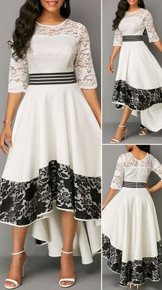 Summer Autumn Dress Women 2020 Elegant Sexy Hollow Out White Lace Long Party Dress Casual Plus Size Slim Ball Gown Maxi Dresses Stylish Dresses, Modest Dresses, Simple Dresses, Pretty Dresses, Sexy Dresses, Beautiful Dresses, Casual Dresses, Frock Fashion, Fashion Mode