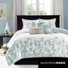 @Overstock.com - Madison Park Amber Cotton 6-piece Duvet Cover Set - Celebrate the arrival of spring and breathe new life into your bedroom with this charming duvet cover set. A sweet floral pattern is picked out in brown and light blue to make this bed covering ideal for completing a cottage decorating scheme.    http://www.overstock.com/Bedding-Bath/Madison-Park-Amber-Cotton-6-piece-Duvet-Cover-Set/7910743/product.html?CID=214117  $94.99