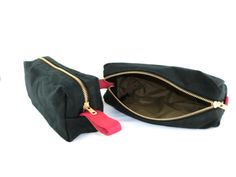 Waxed Canvas Travel Toiletry Bag Black and Red with by TOKgoods, $30.00