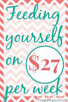 The $27 per week grocery budget challenge. A frugal experiment on eating well on a very limited budget via www.frugalitygal.com