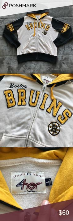 BOSTON BRUINS NHL Hoodie BOSTON BRUINS National Hockey League zip-up hoodie sweatshirt. Worn once to a Bruins game (also worn to appear as an extra in Boston Marathon movie at the TD Garden scene with Jake Gyllenhaal)! Size women's Large. Excellent condition. Smoke-free home. Only imperfection is tiny stain on back as seen in photo. Not noticeable unless closely inspecting. Sadly no longer fits. Perfect for Bruins fans or any Boston lover. Tops Sweatshirts & Hoodies