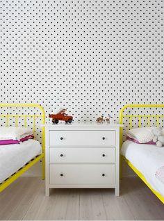 Yellow bed spotty wallpaper #juvenilehalldesign.com likes this