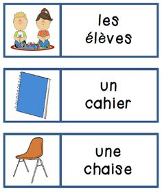 For French Immersion or Core French! Classroom object flashcards, mini book, and games! French Basics, French For Beginners, French Flashcards, French Worksheets, French Learning Games, Teaching French, Learning Resources, Balle Anti Stress, French Colors