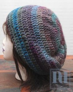 Free Crochet Slouchy Hat Pattern with Lion Brand amazing yarn Crochet Slouchy Hat, Knit Or Crochet, Crochet Gifts, Crochet Scarves, Crochet Clothes, Free Crochet, Knitted Hats, Slouch Hats, Crochet Granny