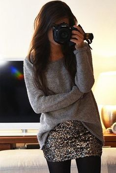 Comfy sweater + sequined mini + opaque black tights = fun + comfortable holiday outfit