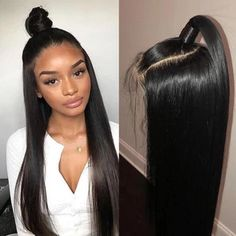 """Universe of goods - Buy """"AllRun 360 Lace Frontal Wigs Pre Plucked With Baby Hair Remy Lace Front Human Hair Wigs Brazilian Straight Hair Bob Bang Wigs"""" for only USD. Short Hair Wigs, Human Hair Lace Wigs, Long Wigs, Human Wigs, Frontal Hairstyles, Weave Hairstyles, Brazilian Hair Wigs, Brazilian Weave, Black Brazilian"""