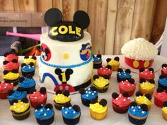 Like these cupcakes  Mickey Mouse Clubhouse birthday cake, cupcakes, and smash cake www.facebook.com/allcakedup4u Mickey Mouse Clubhouse Birthday Party, Mickey Mouse Parties, Mickey Birthday, Mickey Party, Birthday Cake, Happy Birthday, 1st Birthday Themes, First Birthday Parties, First Birthdays