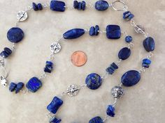 Blue Lapis Necklace Denim Lapis and pewter bead by EvadesignsMaine