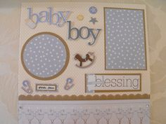 Premade scrapbook page Baby Boy Blessing 12 x 12 by Scrapinista, $4.99