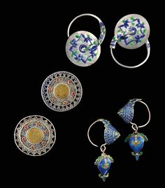 3 pairs of silver and enamel earrings from China.