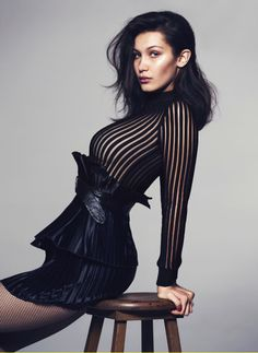 Bella Hadid shows off spring's sheer, shapely fashion. See all the stunning photos.