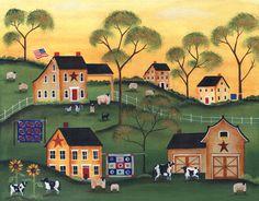 Americana Sunrise Farm of Yesteryear FOlk Art Print 8x10