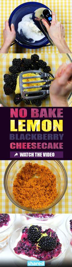 No Bake Lemon Blackberry Cheesecake