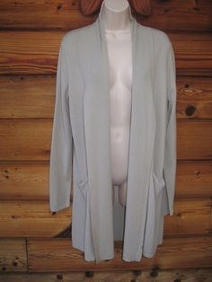 CALVIN KLEIN  Light Green Knit Long Sleeves Open Front Cardigan Sweater Top S  #CalvinKlein #CardiganSweater