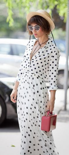total polka dot outfit   total polka dots   summer outfit ideas   mark cross bag   chic street style ideas for summer  