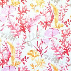 Ocean fabric coral red orange pink watercolor garden, Standard Cut - An ocean garden fabric. A garden with coral and plants in red, orange, and pink watercolor tones.