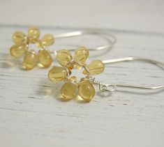Earrings with Tiny Honey Yellow Glass Teardrop Flowers on Large French Earring Wires FE-40 by jewelrybyroz on Etsy