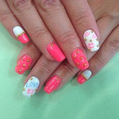 Neon Pink nails with studs