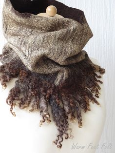 Wilde, chocolate brown and gold curly cowl