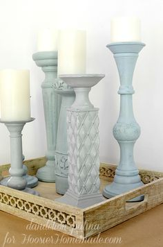 Americana chalky finish candleholders transformed in a few easy steps. These were so easy to update to the color and decor style I currently have. When I get bored with the color, I can just paint right over them again! Ceramic Candle Holders, Wooden Candle Holders, Old Candles, Homemade Candles, Homemade Candle Holders, Ceramic Painting, Chalk Painting, Diy Home Decor, Paint Brushes