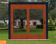 Puerta Triple Corrediza con Mosquitero Corredizo Serie 100 Acabado Haya Texturizado