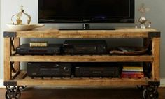 There are so many easy DIY ideas to complete your furniture range for your sweet home. To understand the easy DIY furniture ideas just look at this DIY pallet TV stand because a TV is a very dire need of every home Pallet Furniture, Industrial Furniture, Antique Furniture, Rack Pallet, Diy Pallet, Pallet Ideas, Rustic Tv Unit, Rustic Wood, Diy Wood