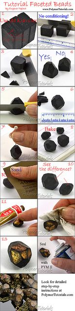 Tutorial Faceted Polymer Clay Beads | Flickr - Photo Sharing!