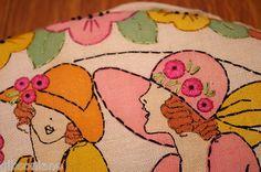 Vintage Retro Boudoir Pillow Just Amazing Ladies Hats Textile Round Antique   eBay