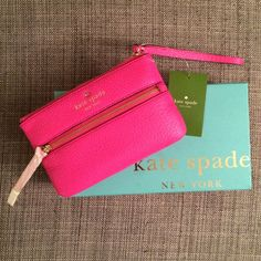 Kate Spade Vivid Snapdragon Cobble Hill Bee - HP! From web: we downscaled our popular wallet into a toteable wristlet that holds all the essentials-phone, cash (and red lipstick, of course)-so that your hands are free to toast, snap photos or flag the waiter for another round of champagne. soft pebbled cowhide with matching trim, 14-karat light gold plated hardware, custom stripe print on poly twill lining. 4''h x 6.5''w. embossed gold spade stud. style # pwru2938. Comes with box! HOST PICK…