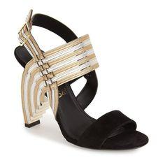 "Salvatore Ferragamo'Lenny' Sandal, 4 1/4"" heel (6,275 PEN) ❤ liked on Polyvore featuring shoes, sandals, metallic high heel sandals, strappy high heel sandals, leather strap sandals, woven shoes and braided strap sandals"