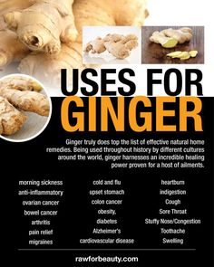 Ginger truly does top the list of effective natural home remedies. Being used throughout history by different cultures around the world, ginger harnesses an incredible healing power proven for a host of ailments. I use it in a tea to get rid of chest coughs. Click on the image to get the recipe.