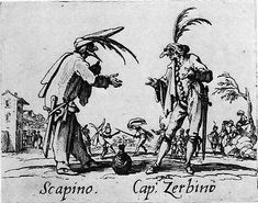 'Scapino and Cap. Zabino', etching by Jacques Callot, from 'Balli di Sfessania', ca. 1622.