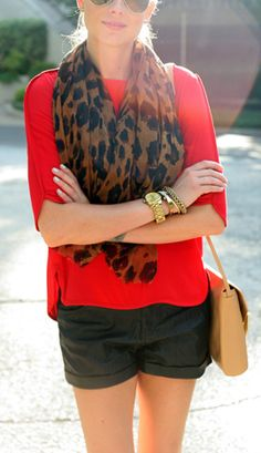 leopard scarf / red / black // 18 Ways to Wear a Leopard Scarf With Color