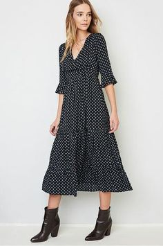 buy women's 3/4 sleeve v-neck printed midi peasant dress for casual outfit or going out
