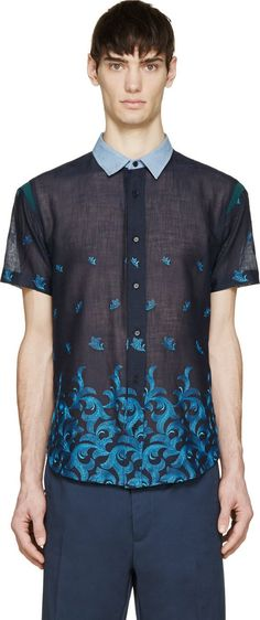 Undecorated Man Navy Blue Embroidered Floral Shirt