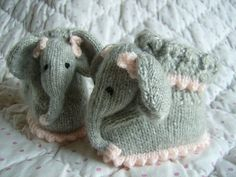 Ravelry: Baby Elephant Bootee Slipper Pets by Abigail Originals Knitted Booties, Crochet Slippers, Knit Or Crochet, Baby Booties, Elephant Baby Rooms, Little Elephant, Baby Elephants, Easy Knitting Patterns, Knitting Ideas