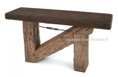Timber Farm Sofa Table with Concrete Top