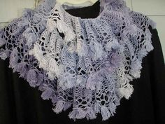 Handknit purple spring scarf unique bohemian by KnitWithPleasure, $19.00