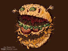 Monster Burger T-Shirt - http://teecraze.com/monster-burger-t-shirt/ -  Designed by Letter-Q