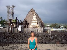 At 'Ahena Heiau', Kailua Kona, Hawai'i - The 'temple' has been 'dressed' in white for a sacred ceremony.