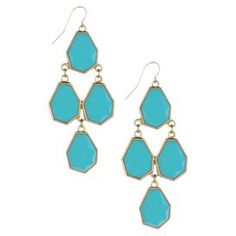 """Drop earrings with faceted geometric beads.   Product: Pair of earringsConstruction Material: Metal and glass beadsColor: Turquoise and goldDimensions: 2.75"""" H each"""