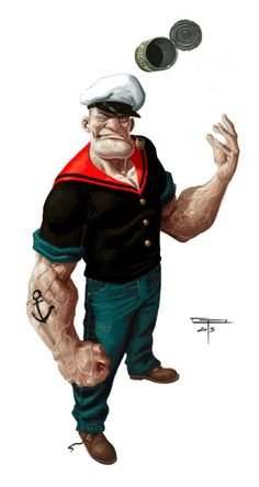 Popeye by German Peralta * Comic Book Characters, Comic Character, Comic Books Art, Character Concept, Comic Art, Character Design, Caricatures, Popeye And Olive, Popeye The Sailor Man