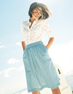 Sienna Skirt WG538 Midi at Boden - Outer 100% cotton - Lining 100% cotton - as of 8/19/14 Was $78.00 )  now $46.80