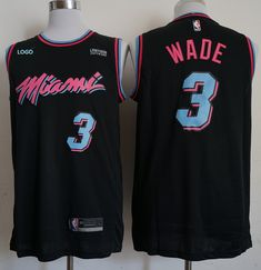 b54fbcb5f62 Adult miami vice heat city basketball jersey black 3
