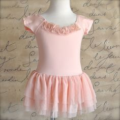 Vintage  pink ballerina mesh tutu dress with chiffon rosettes with pearls. First tutu, ballet class or a special birthday.
