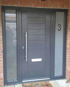 Modern Entrance Door, Modern Exterior Doors, Modern Front Door, Front Door Design, Fence Design, Entrance Doors, Grey Composite Front Door, Grey Front Doors, External Door Handles
