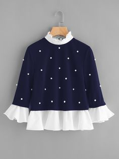SheIn offers Contrast Frill Trim Pearl Embellished Top & more to fit your fashionable needs. Source by mabellanlara de moda Girls Fashion Clothes, Teen Fashion Outfits, Look Fashion, Trendy Outfits, Kids Outfits, Girl Fashion, Fashion Dresses, Cute Outfits, Fast Fashion