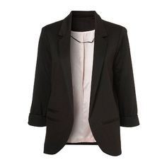 SheIn(sheinside) Black Boyfriend Ponte Rolled Sleeves Blazer ($28) ❤ liked on Polyvore featuring outerwear, jackets, blazers, tops, black, boyfriend blazer, draped collar jacket, drapey jacket, ponte jacket and ponte knit blazer