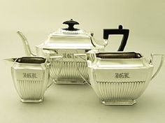 A fine and impressive antique Victorian English sterling silver three piece tea service - boxed; an addition to our silver teaware collection  http://www.acsilver.co.uk/shop/pc/Sterling-Silver-Three-Piece-Tea-Service-Boxed-Antique-Victorian-67p4841.htm